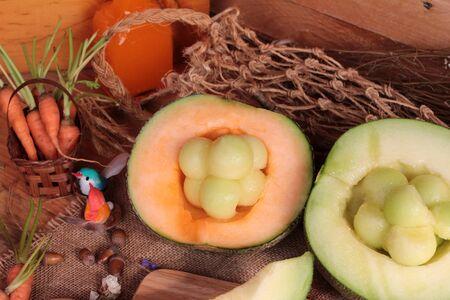 melon fruit: Cantaloupe melon fruit juicy on wood background