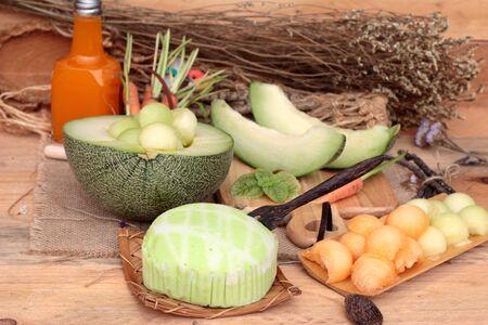 melon fruit: Cantaloupe melon fruit juicy and Melon cake Stock Photo