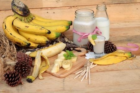 platano maduro: plátano maduro y plátano batido con leche
