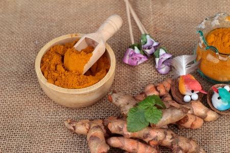 inhibit: Turmeric herb yellow powder and fresh turmeric Stock Photo