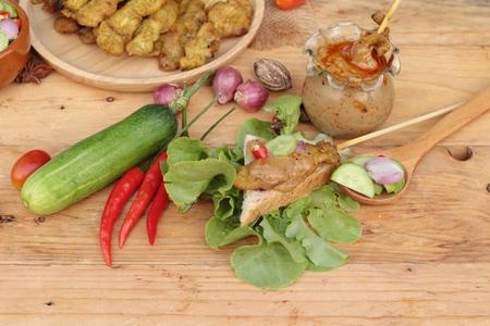 peanut sauce: Pork satay,grilled pork with peanut sauce