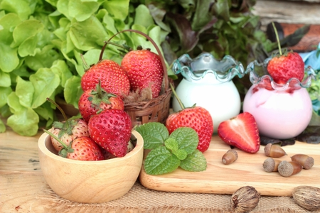 pastes: Fresh strawberries red and yogurt at delicious