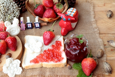 pastes: Fresh strawberries red and jam with bread Stock Photo