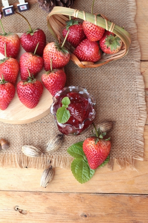 pastes: Fresh strawberries red at delicious and jam Stock Photo