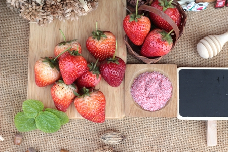 pastes: Fresh strawberries red at delicious and plum powder Stock Photo