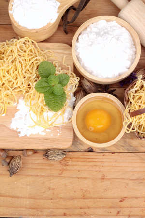 chinese noodles: Making noodle with wheat flour and egg for cooking