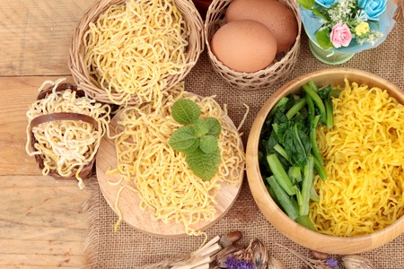 asian noodles: Egg noodles and raw noodle Stock Photo