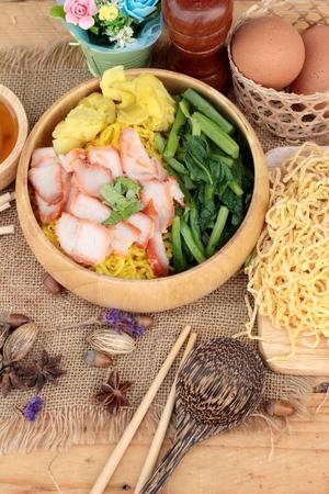 noodles: Egg noodles with pork and dumpling in soup