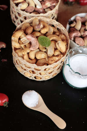 cashews: Cashews nuts are roasted delicious with salt
