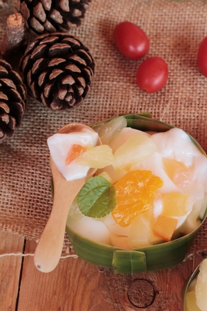 mix fruit: mix fruit salad topping on tofu milk Stock Photo