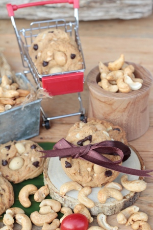oatmeal cookies with chocolate and nuts is delicious Stock Photo