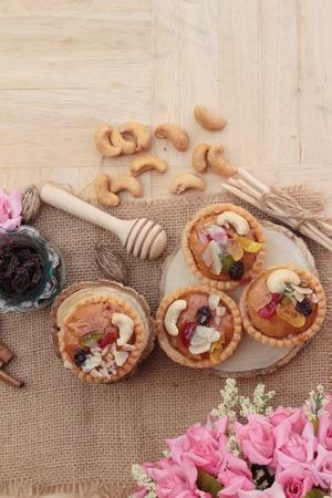 fruit tart: Mini almond nuts,fruit tart is delicious
