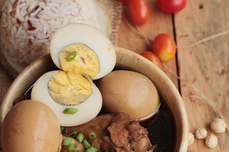 thailand culture: Stewed eggs with chicken chinese food delicious Stock Photo