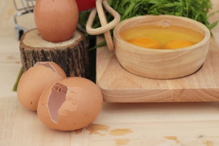 pennata: Egg and vegetables acacia pennata for omelet cooking Stock Photo