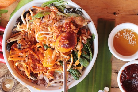 Bibimbap korean food is delicious on wood background Stock Photo