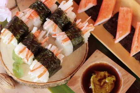 wasabi: Sushi crab stick with wasabi and sauce