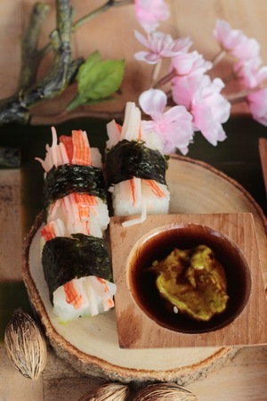 Sushi crab stick with wasabi and sauce