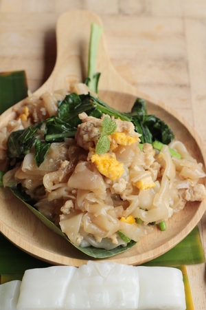 Stir rice noodle roasted chicken is delicious