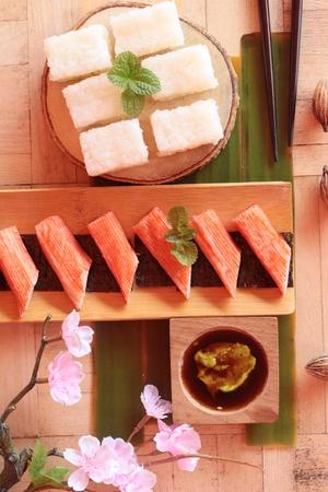 wasabi: Crab stick with wasabi sauce and making sushi Stock Photo