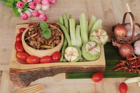 pastes: Spicy pork pastes delicious with fresh vegetables Stock Photo
