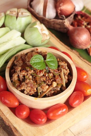 pastes: Spicy pork pastes delicious with fresh vegetables Stock Photo