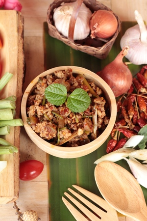 Spicy pork pastes delicious with fresh vegetables Stock Photo