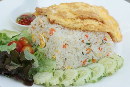 Fried rice with crab and omelet delicious