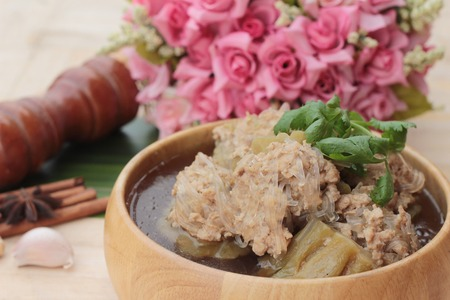 Soup with bitter melon stuffed with minced pork Stock Photo