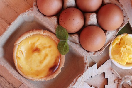 Making egg tart is delicious and egg Stock Photo