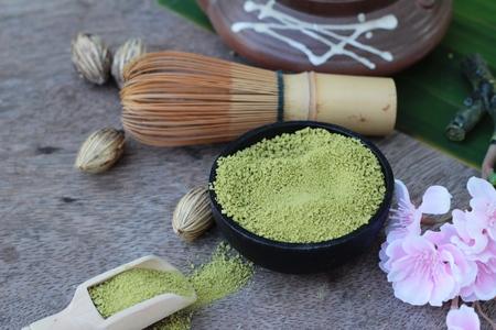 maccha: Matcha green tea and powder ,Japanese tea