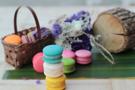 French dessert macaroons with colorful is delicious