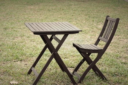 garden lawn: Wooden chairs in the garden