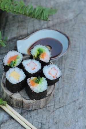 Mixed roll sushi set is delicious, Japanese food.