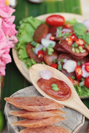 La salchicha picante china (Gun-chiang) es sabrosa Foto de archivo