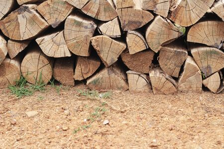 outdoor fireplace: Pile of old firewood background with nature