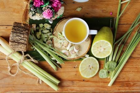 lemongrass tea: Lemongrass tea with sliced lemon for health Stock Photo