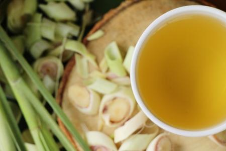 Lemongrass tea with sliced lemon for health Stock Photo
