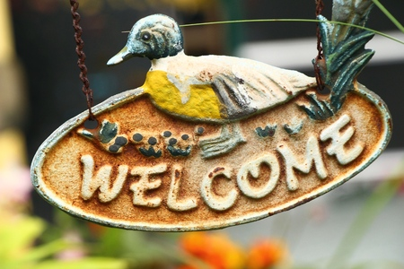 welcome mat: Symbolize welcome on background with the nature