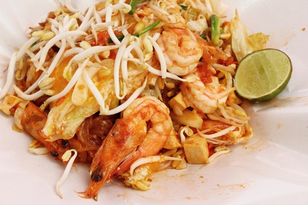 Fried noodle with shrimp in the market