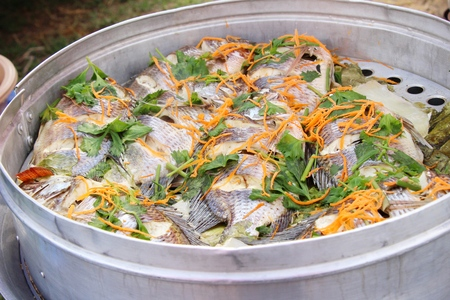 Steamed fish with vegetable delicious in pot
