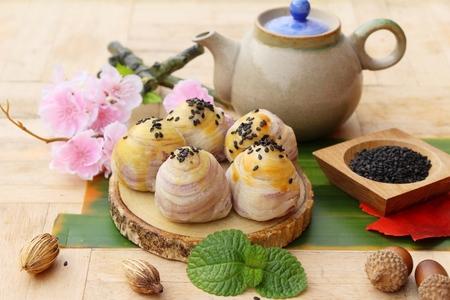 Festival moon cake ,Chinese dessert and hot tea