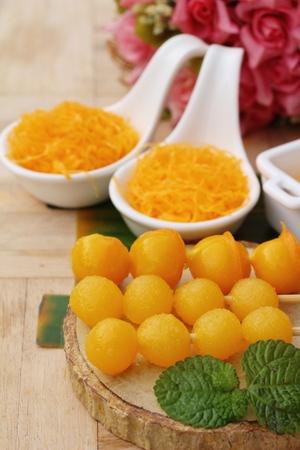 golden sweet is egg yolk  ,Thai dessert Stock Photo