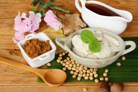 spice: Ginger juice and tofu delicious ,Dessert Chinese Stock Photo
