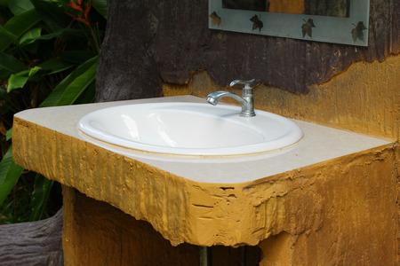 white wood floor: Wooden sinks is vintage style in park