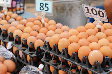 Egg in the panel at the market Stock Photo