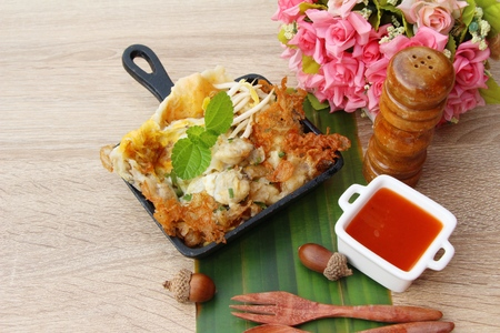 Fried clams crispy with omelet is delicious Stock Photo