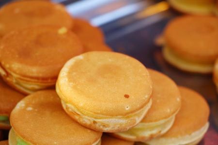 Dorayaki, japanese sweet pancakes at street food