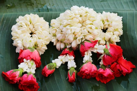 Hand jasmine garlands for sale in market