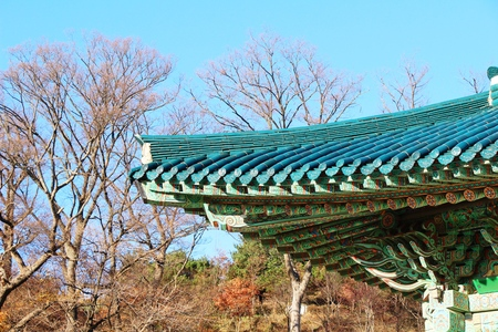 Traditional roof of ancient at Korean architecture Stock Photo
