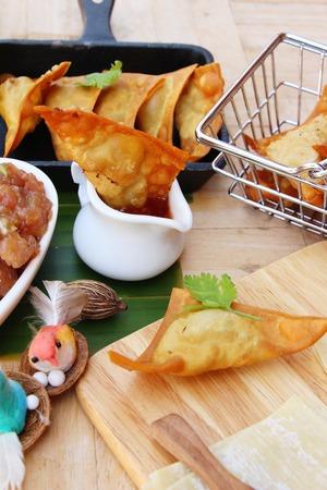 Crispy fried pork dumplings with sauce delicious